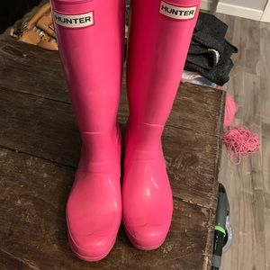 Pink Glossy Hunter Boots Size 10